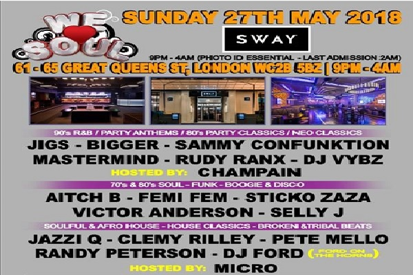 We Love Soul - Sunday 27th May 2018